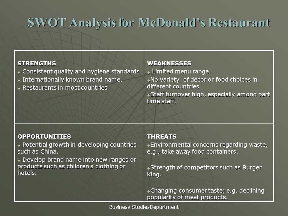 business economics mcdonald s analysis Pest analysis on mcdonalds : mcdonald's corporation like any business venture, these mcdonald's stores have to contend with the issues of employment procedures as well as their tax obligations so as the company will also have to consider the economic standing of the state on which they.