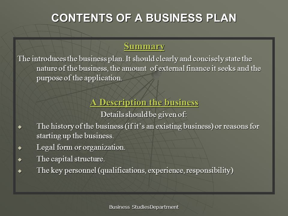 key contents of a business plan