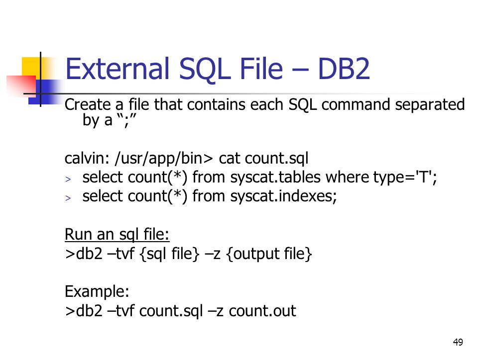how to run db2 commands from a file in linux