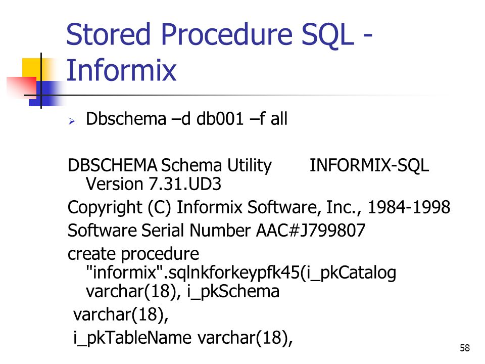 stored procedure sql informix - Dbschema Informix