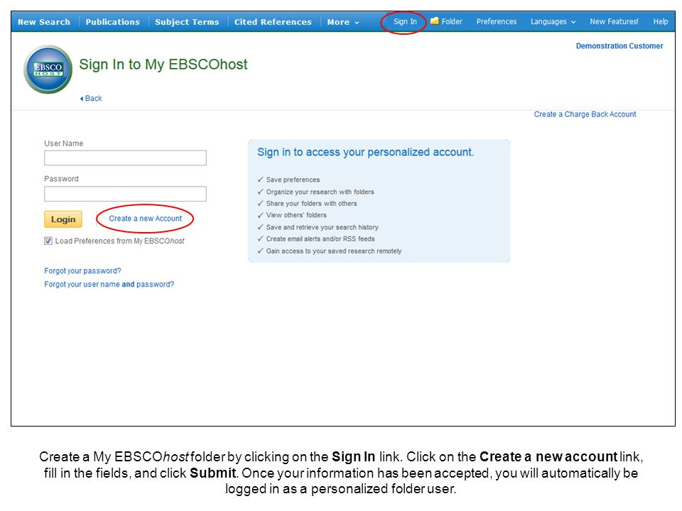 Create a My EBSCOhost folder by clicking on the Sign In link