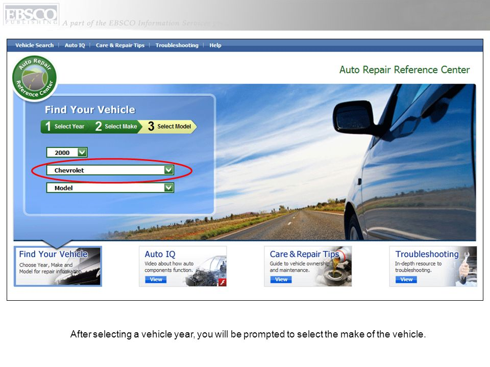 After selecting a vehicle year, you will be prompted to select the make of the vehicle.