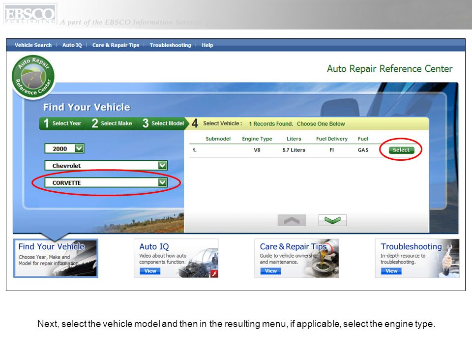 Next, select the vehicle model and then in the resulting menu, if applicable, select the engine type.