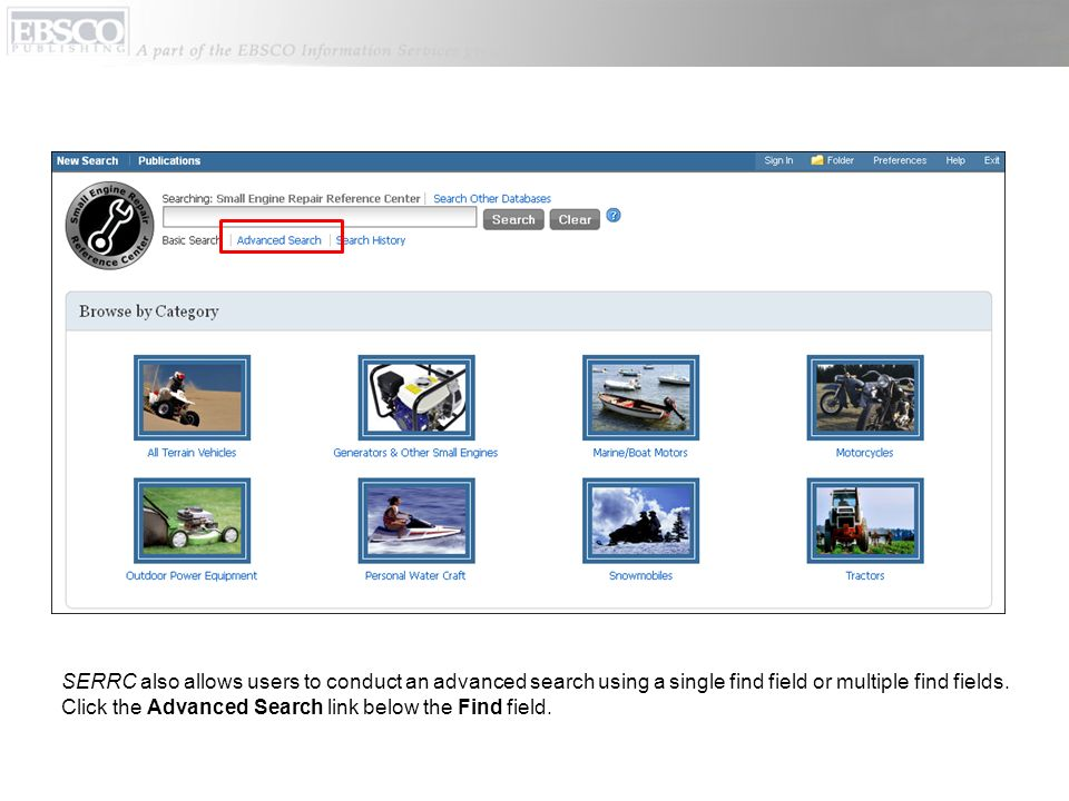 SERRC also allows users to conduct an advanced search using a single find field or multiple find fields.