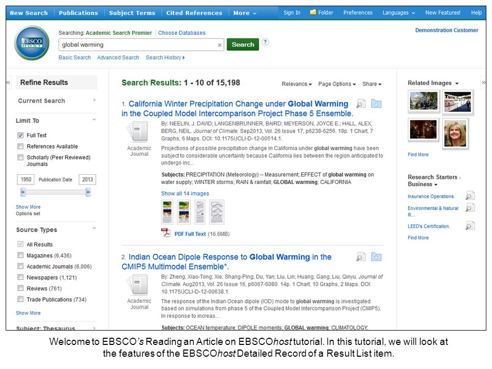 Welcome to EBSCO's Reading an Article on EBSCOhost tutorial