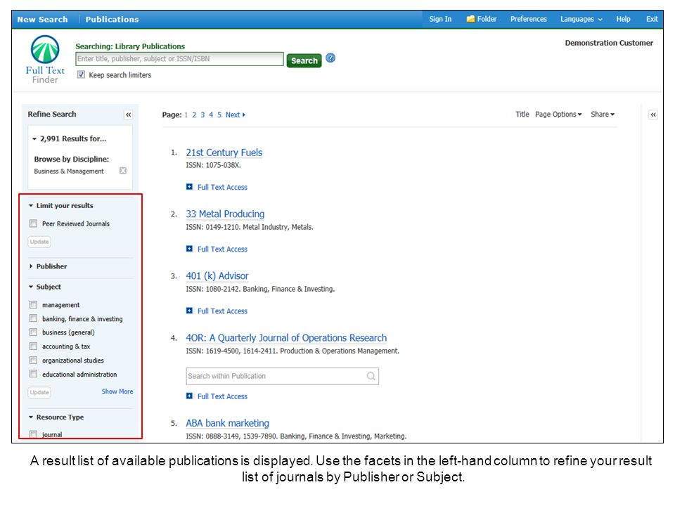 A result list of available publications is displayed