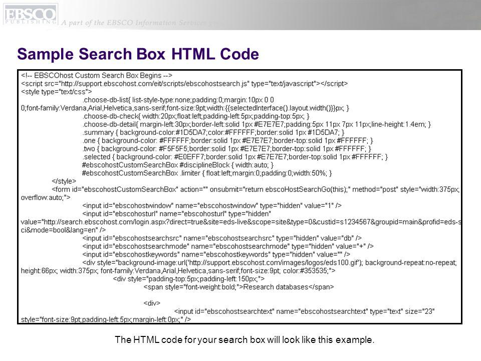 Sample Search Box HTML Code