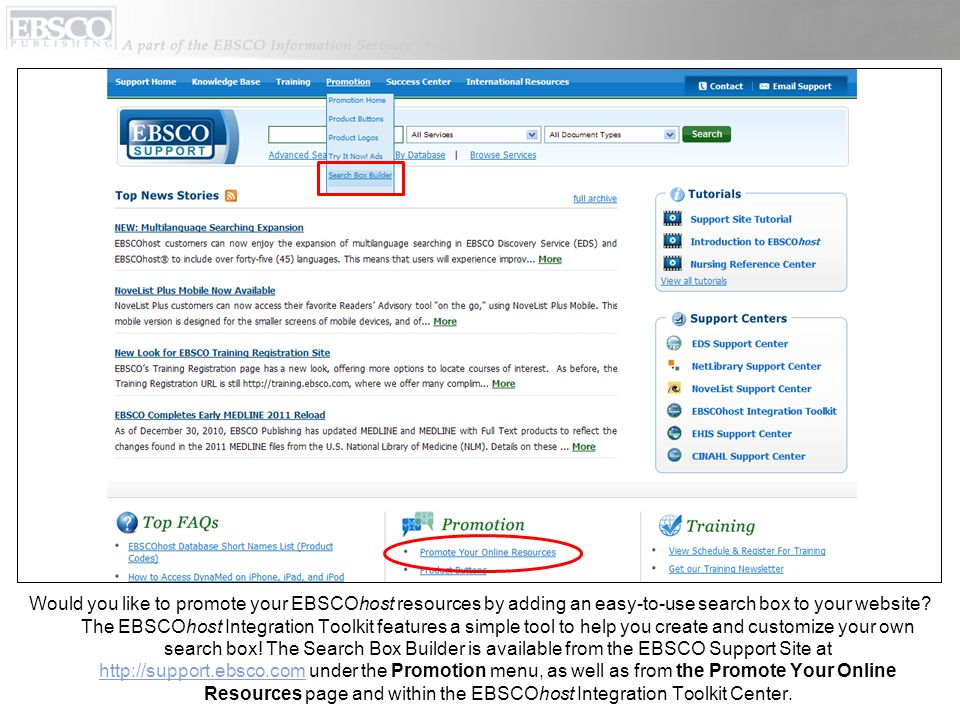 Would you like to promote your EBSCOhost resources by adding an easy-to-use search box to your website.
