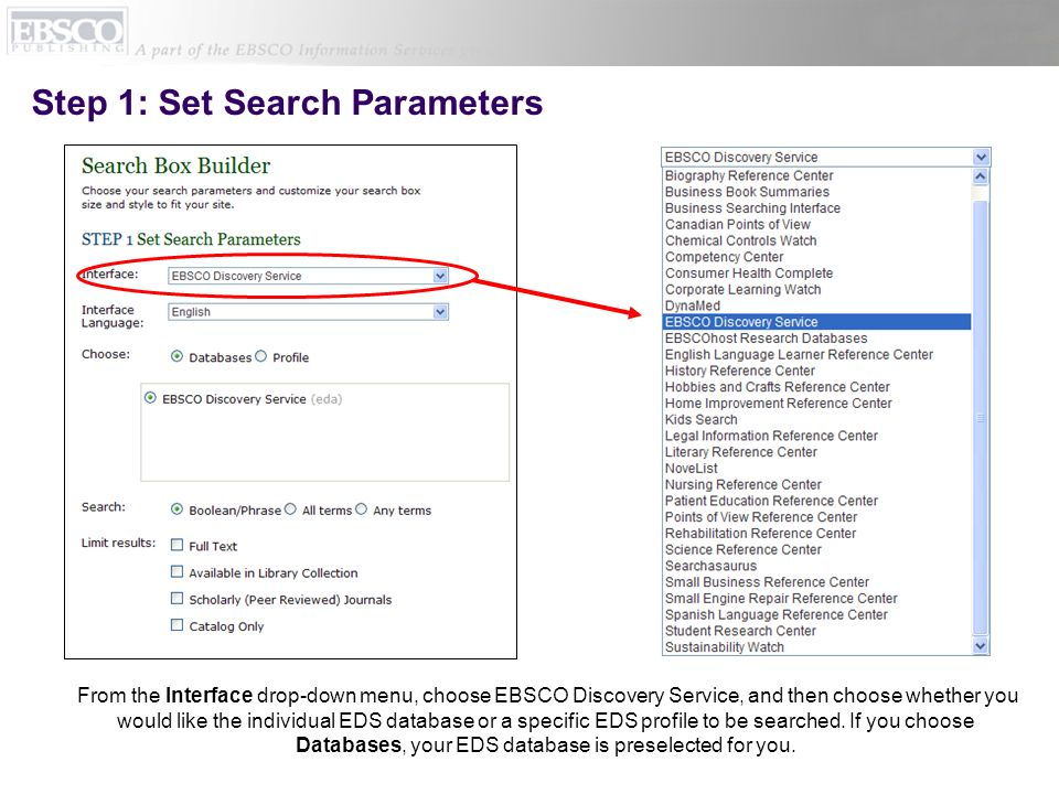 Step 1: Set Search Parameters