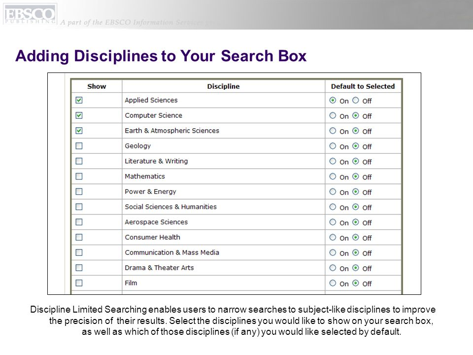 Adding Disciplines to Your Search Box