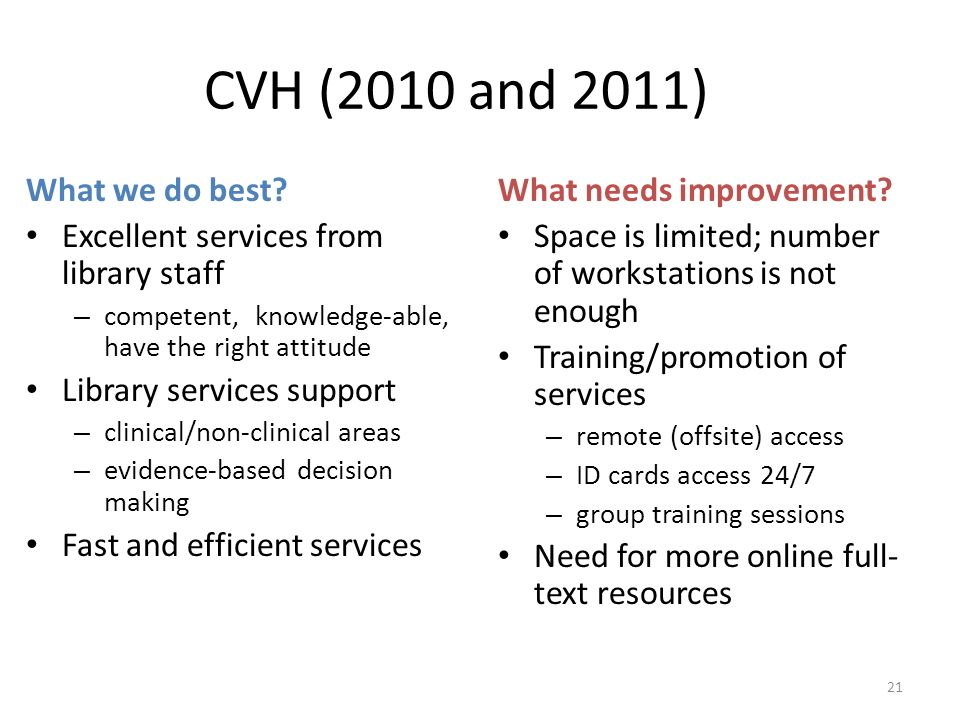 CVH (2010 and 2011) What we do best