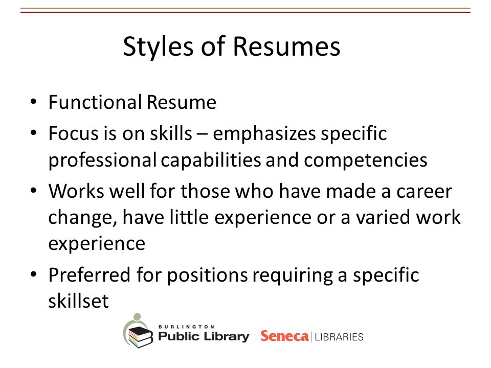 Styles of Resumes Functional Resume