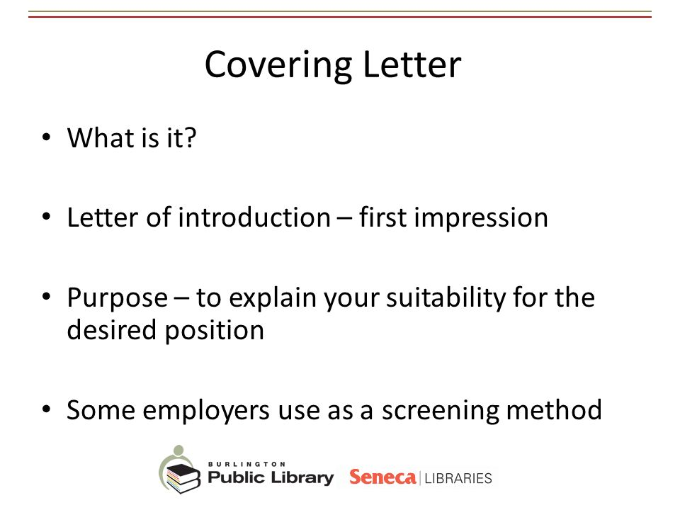 Covering Letter What is it Letter of introduction – first impression