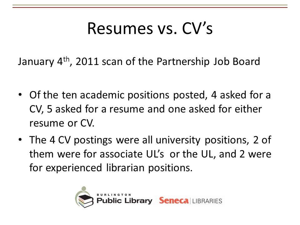 Resumes vs. CV's January 4th, 2011 scan of the Partnership Job Board