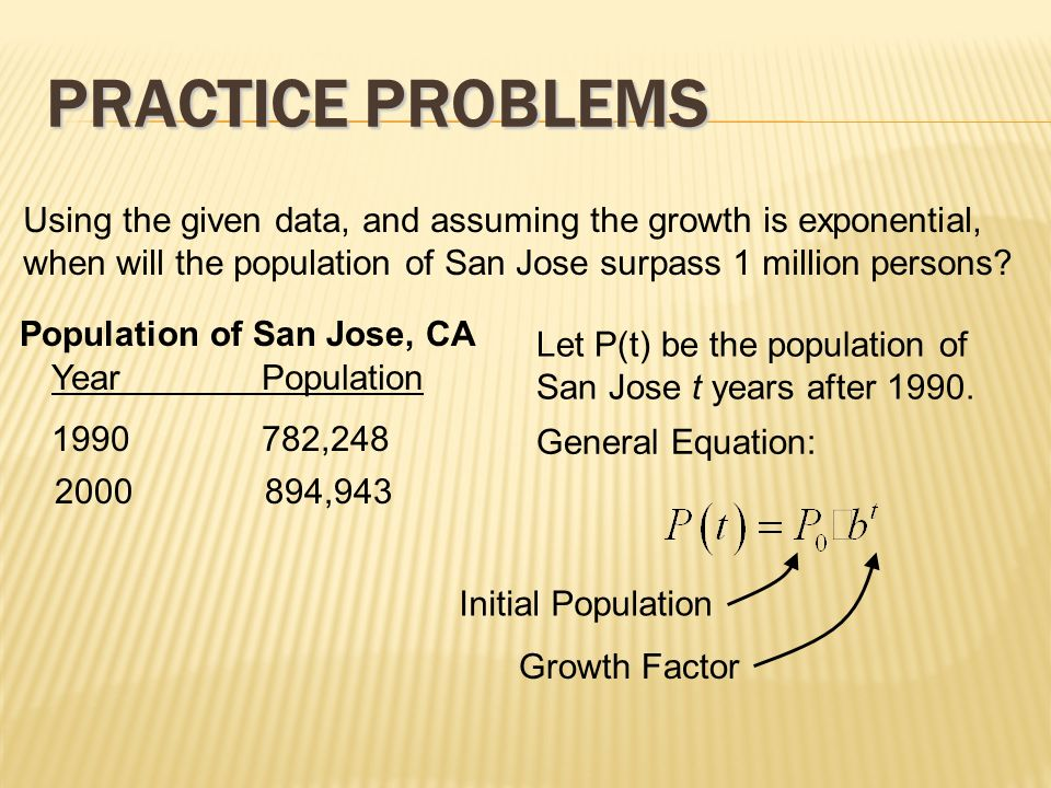 how to find initial population with exponential growth