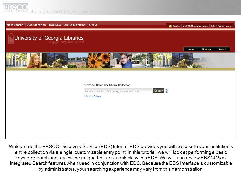 Bienvenue dans le tutoriel d'EBSCO Discovery Service (EDS)