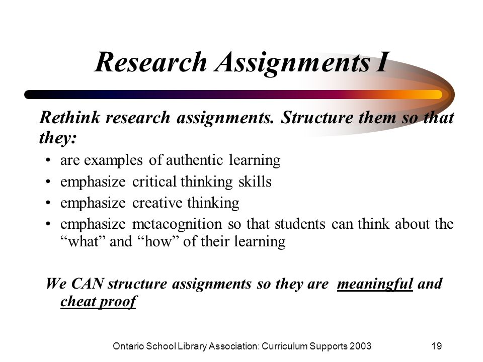 Research Assignments I