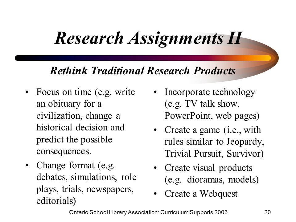 Research Assignments II