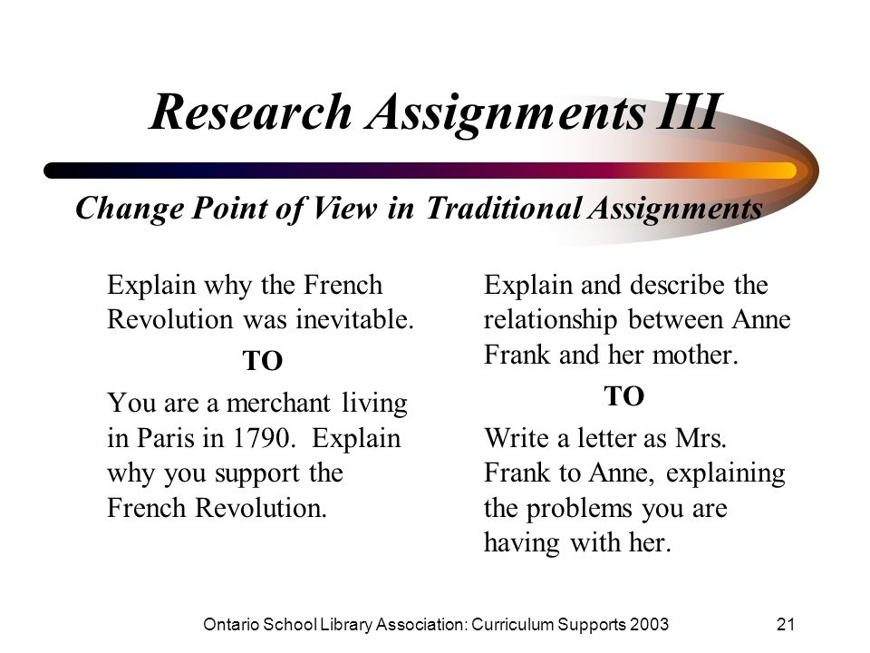 Research Assignments III