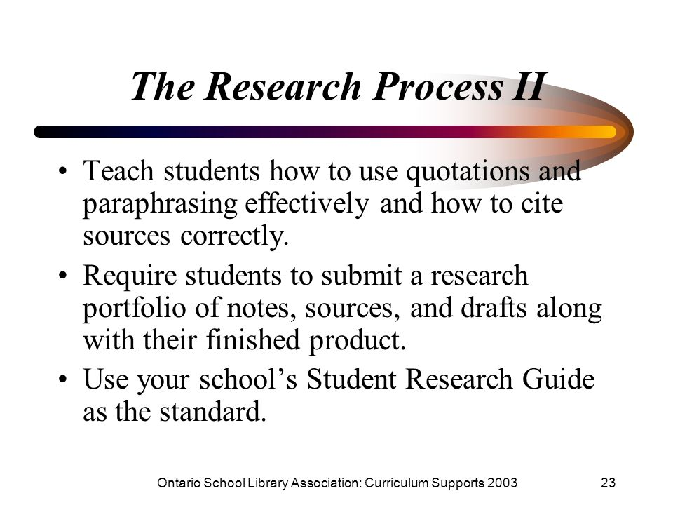 The Research Process II