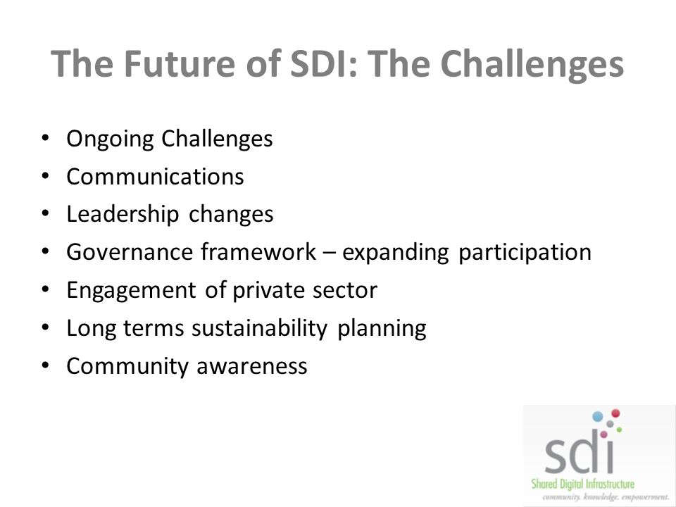 The Future of SDI: The Challenges