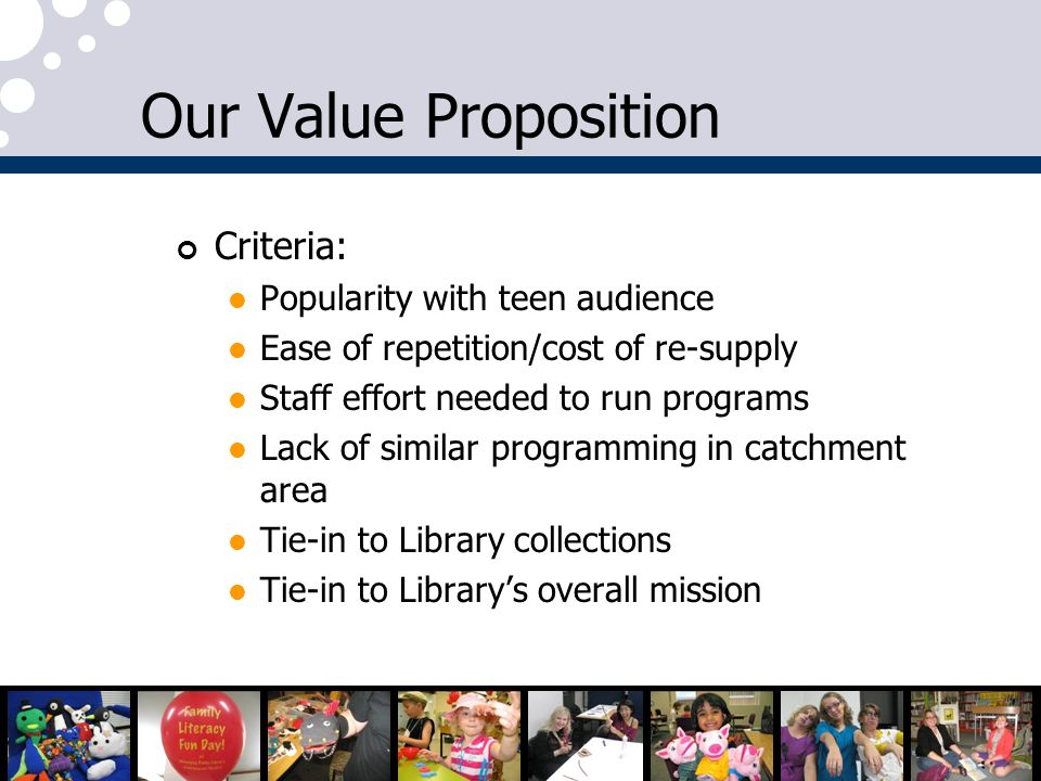 Our Value Proposition Criteria: Popularity with teen audience
