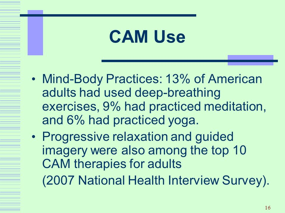 CAM Use Mind-Body Practices: 13% of American adults had used deep-breathing exercises, 9% had practiced meditation, and 6% had practiced yoga.