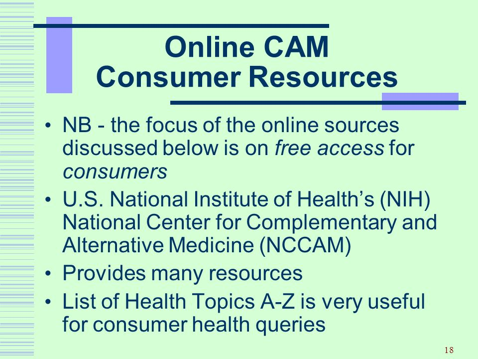 Online CAM Consumer Resources