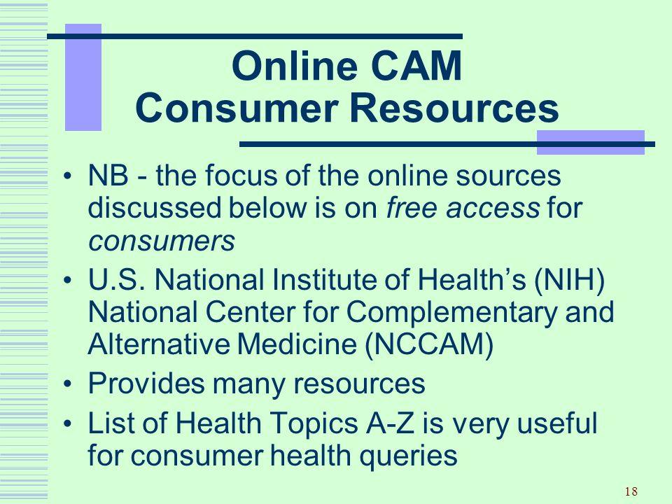 Online CAM Consumer Resources
