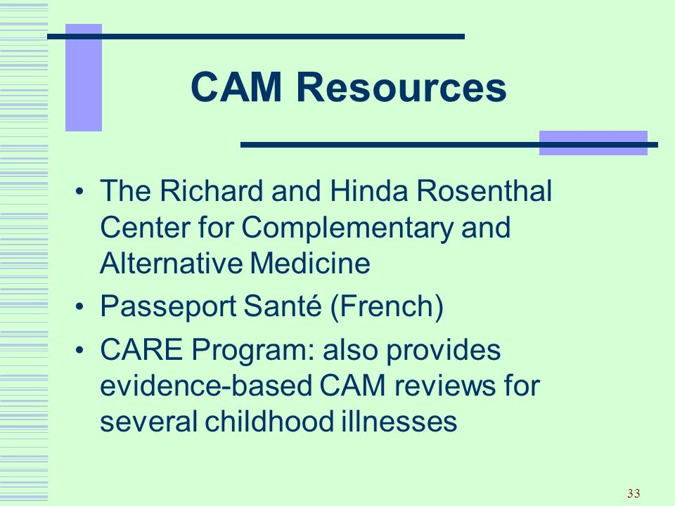 CAM Resources The Richard and Hinda Rosenthal Center for Complementary and Alternative Medicine. Passeport Santé (French)