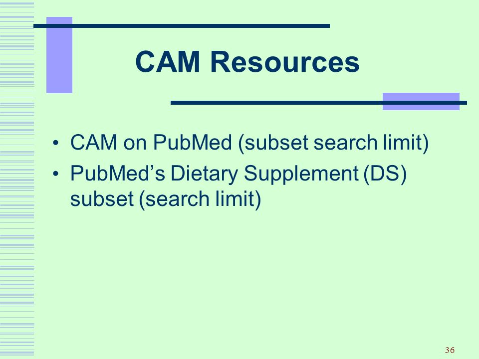 CAM Resources CAM on PubMed (subset search limit)
