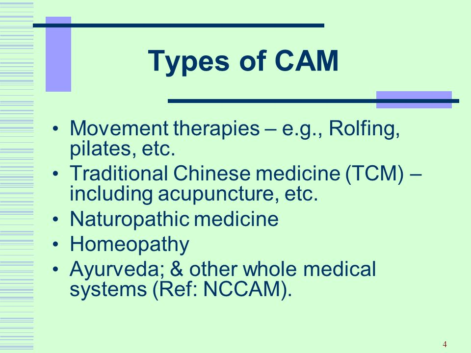 Types of CAM Movement therapies – e.g., Rolfing, pilates, etc.