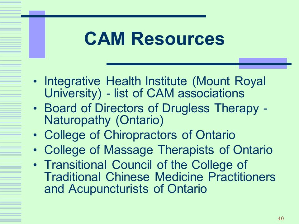 CAM Resources Integrative Health Institute (Mount Royal University) - list of CAM associations.