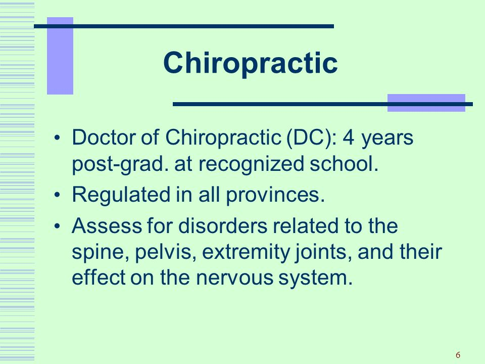 Chiropractic Doctor of Chiropractic (DC): 4 years post-grad. at recognized school. Regulated in all provinces.