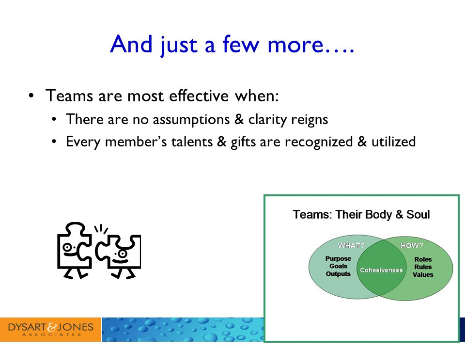 And just a few more…. Teams are most effective when: