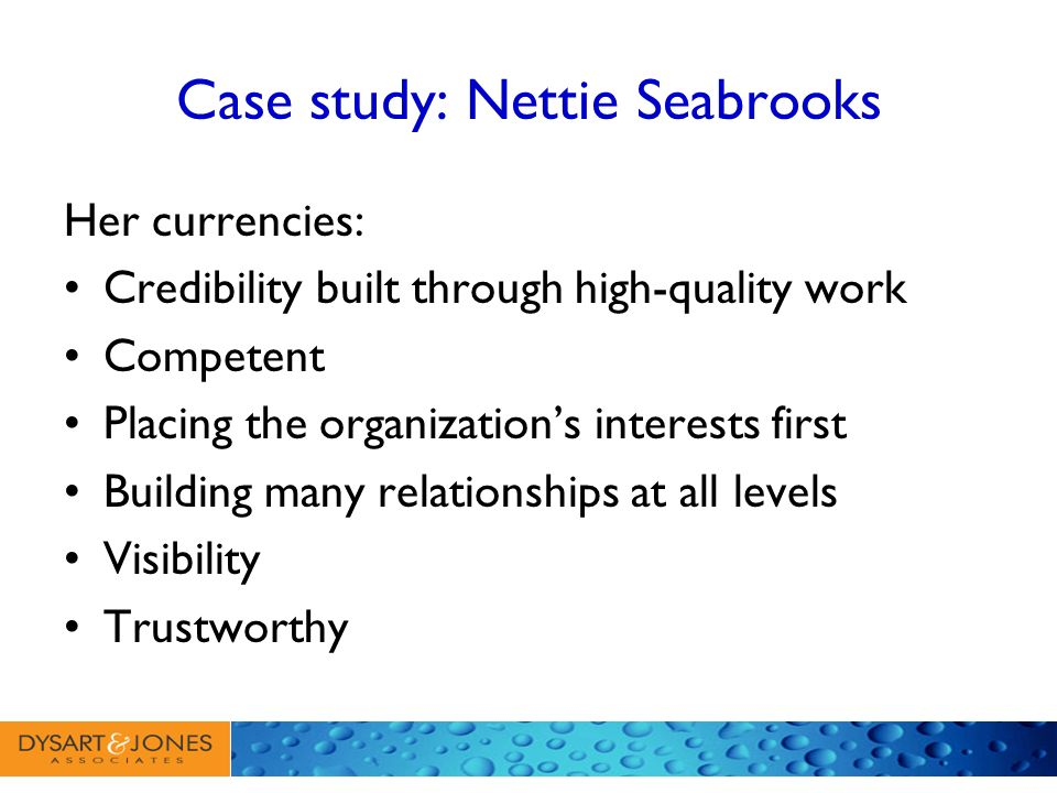 Case study: Nettie Seabrooks