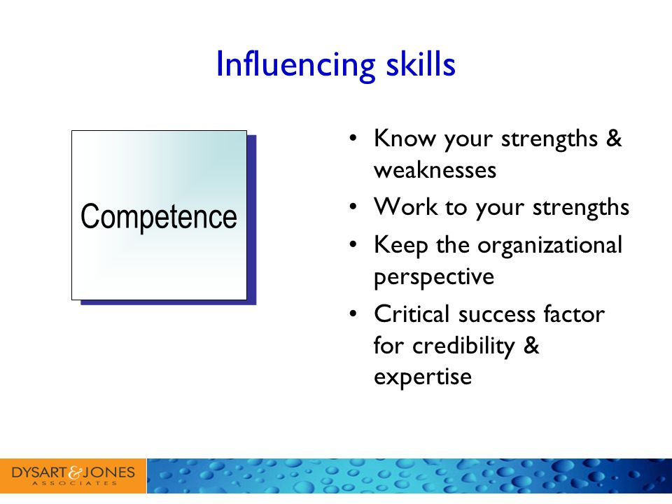 Influencing skills Competence Know your strengths & weaknesses