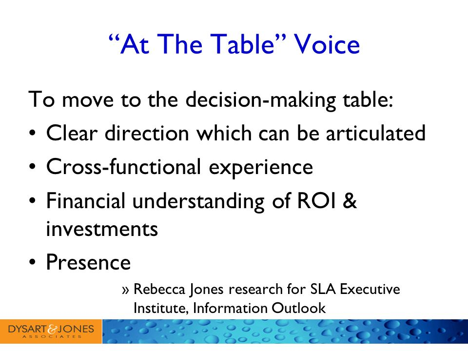 At The Table Voice To move to the decision-making table: