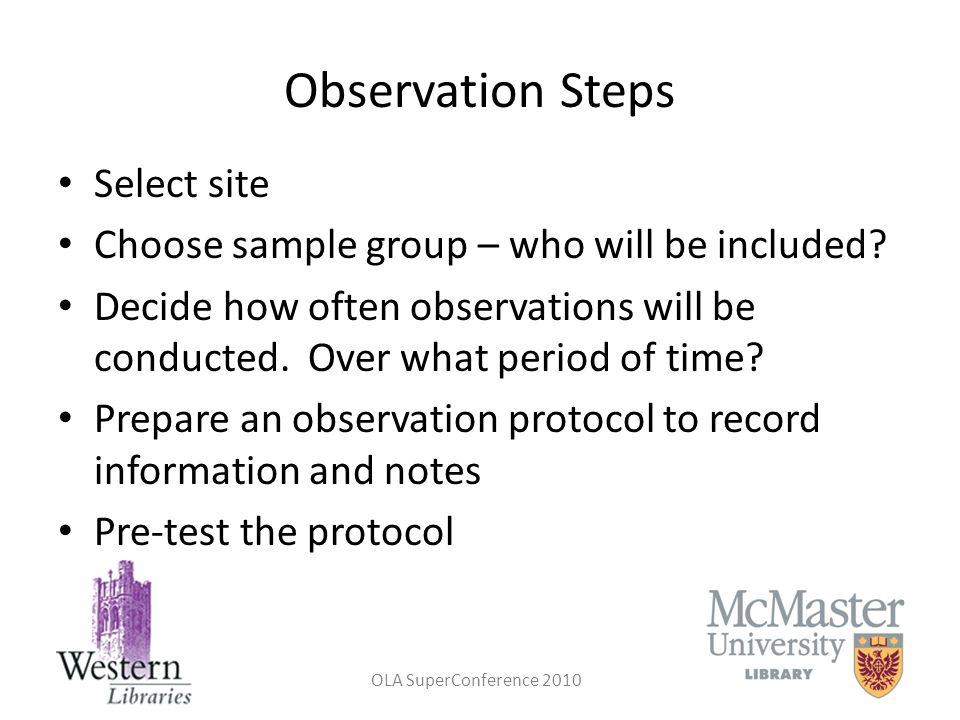 Observation Steps Select site