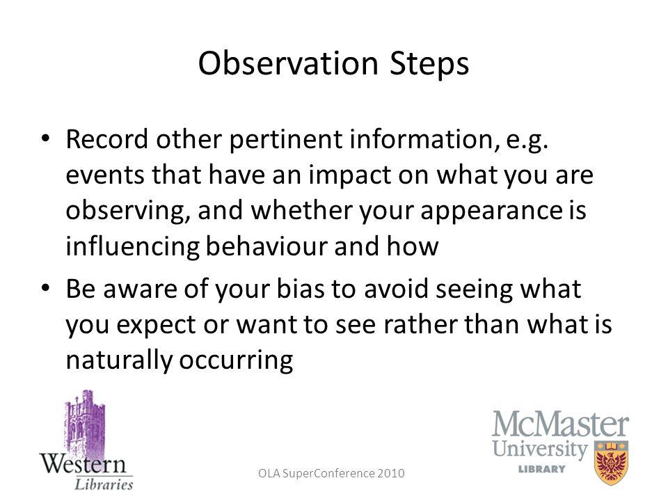 Observation Steps