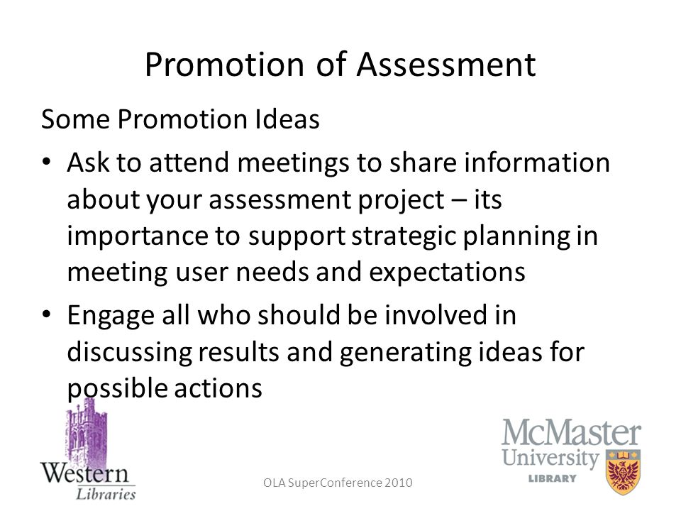 Promotion of Assessment