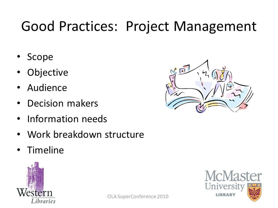 Good Practices: Project Management