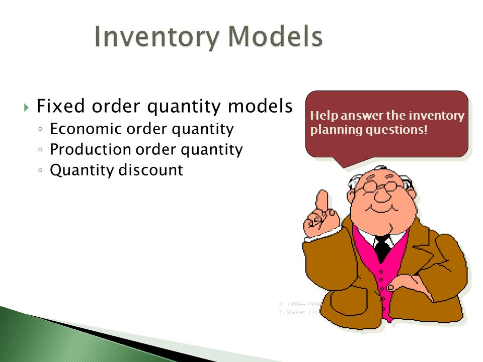 inventory models Lesson 11: inventory models (deterministic) outline hierarchy of production decisions inventory control questions inventory control costs the economic order quantity (eoq) model.