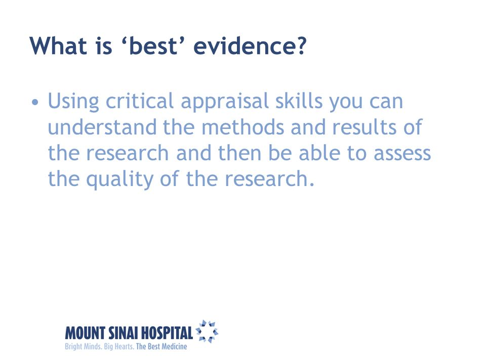 What is 'best' evidence