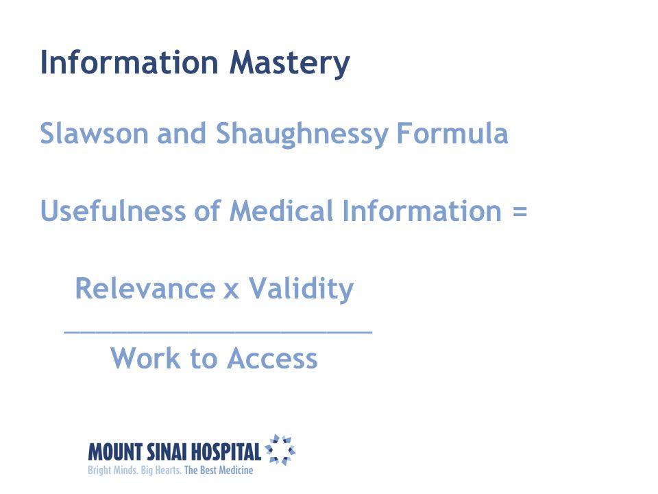 Information Mastery Slawson and Shaughnessy Formula