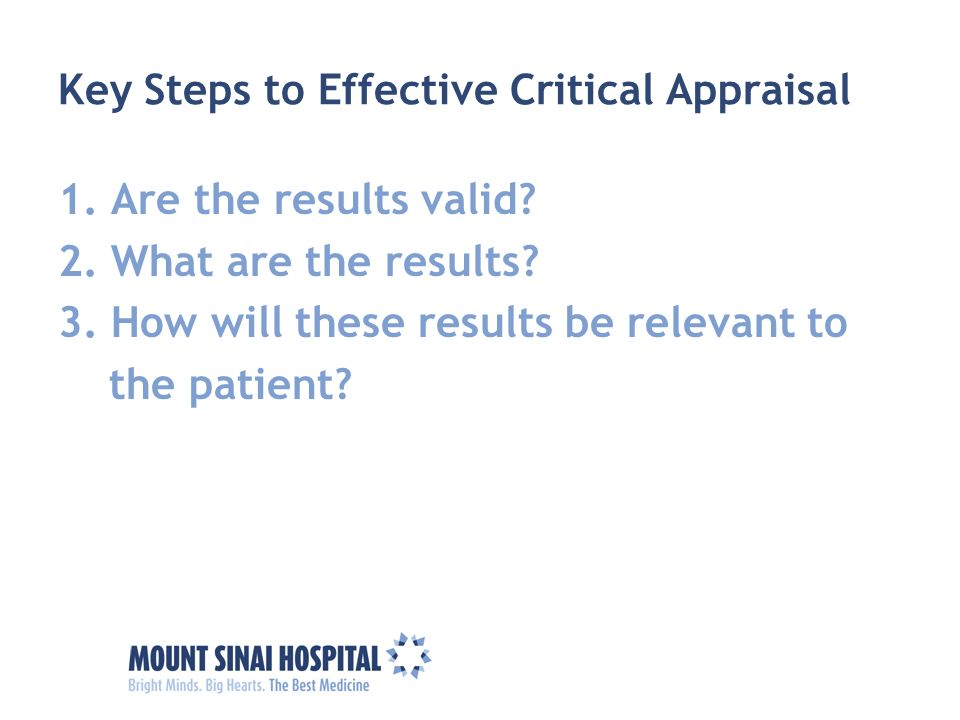 Key Steps to Effective Critical Appraisal