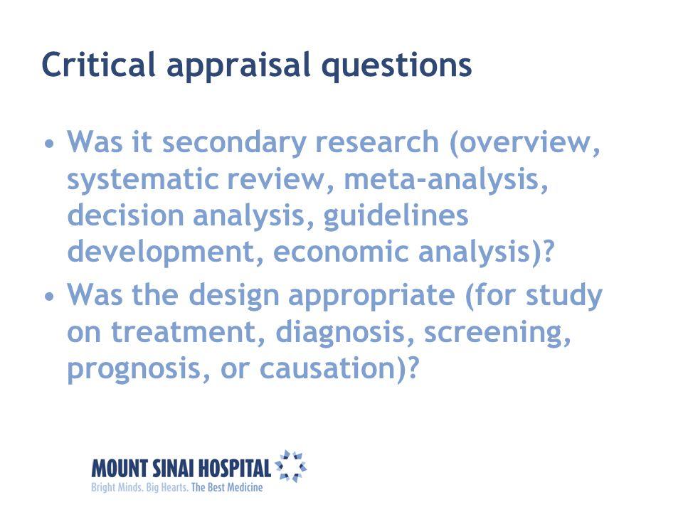 Critical appraisal questions