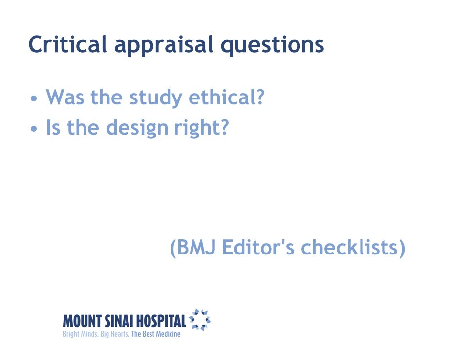 Tools for Critical Appraisal - Systematic Reviews & Other ...