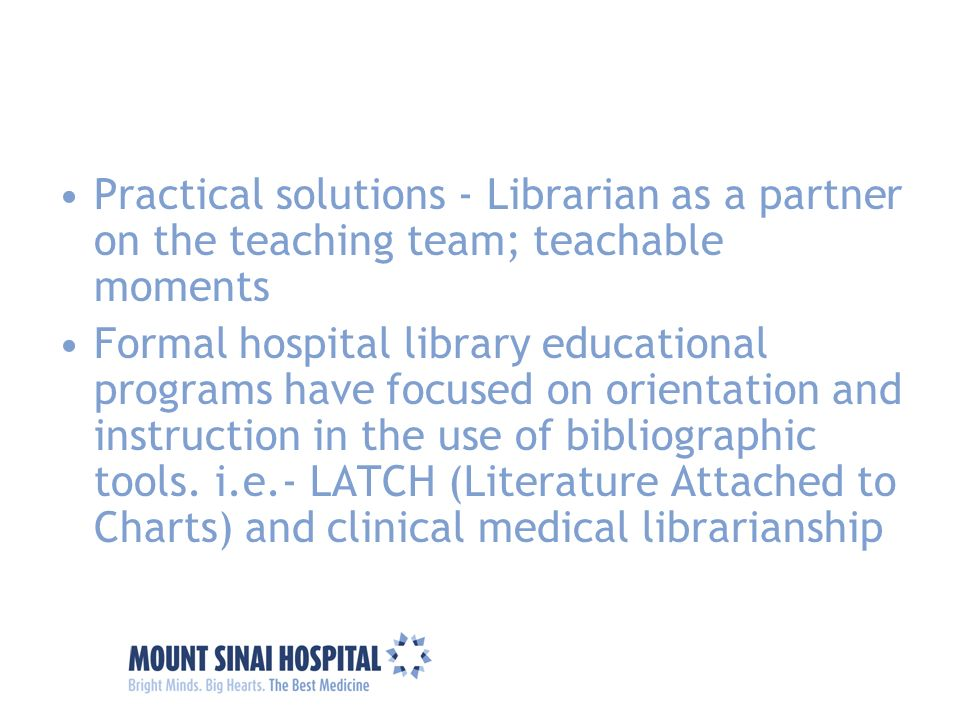 Practical solutions - Librarian as a partner on the teaching team; teachable moments