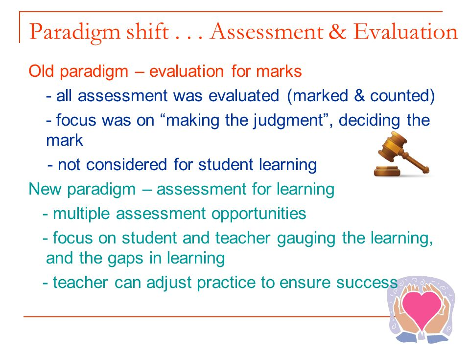 Paradigm shift . . . Assessment & Evaluation